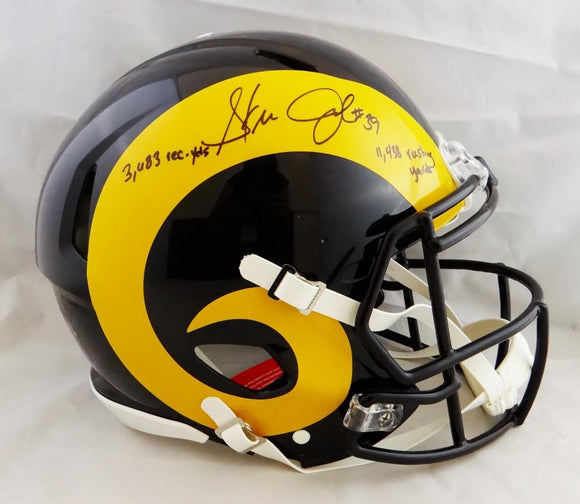 Steven Jackson Autographed Los Angeles Rams F/S Color Rush Speed Authentic Helmet w/2 Insc- Beckett Auth