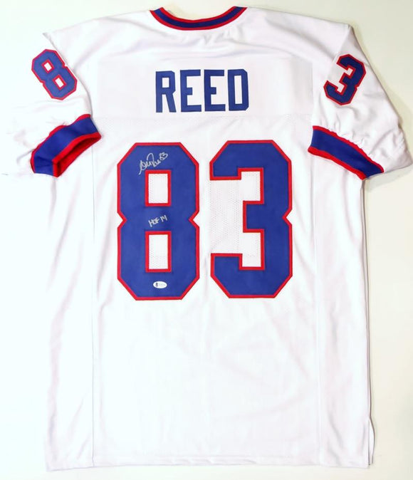 Andre Reed Autographed White Pro Style Jersey w/HOF - Beckett Auth *Silver