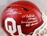 Brian Bosworth Signed OU Sooners F/S Speed ProLine Helmet w/2 Insc- JSA W Auth *White