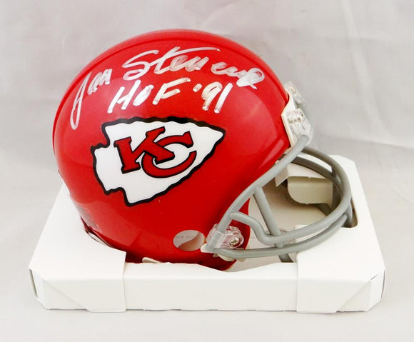Jan Stenerud Signed Kansas City Chiefs Mini Helmet W/ HOF- JSA W Auth *Silver