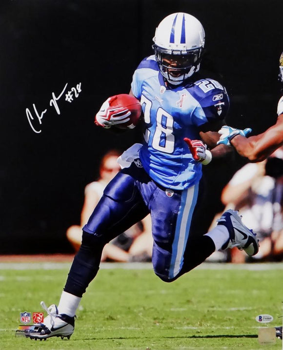 Chris Johnson Autographed Tennessee Titans 16x20 Running PF- Beckett Auth *White
