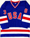 Jim Craig Autographed Team USA Blue Jersey w/ 1980 Olympic Gold Medal- Beckett Auth