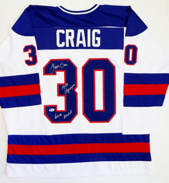 Jim Craig Autographed Team USA White Jersey w/ 1980 Olympic Gold Medal- Beckett Auth