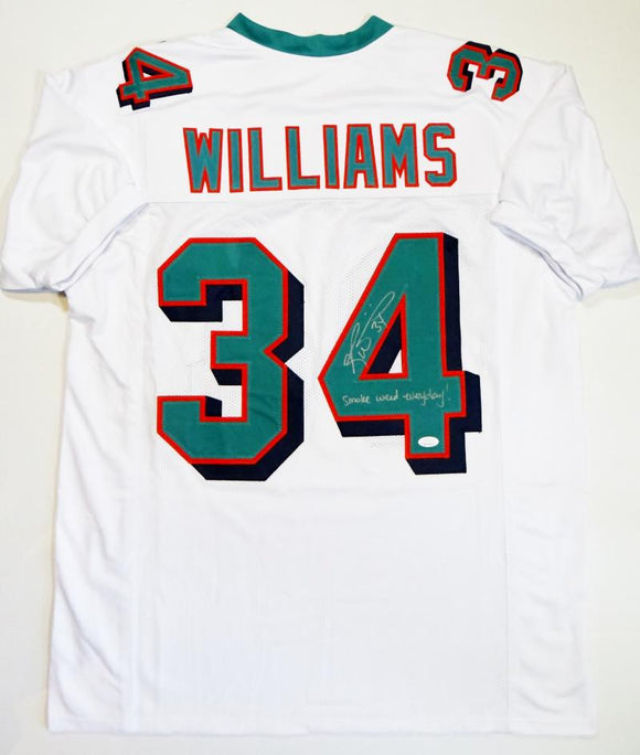Ricky Williams Autographed White Pro Style Jersey w/Smoke Weed Insc - JSA W Auth *4