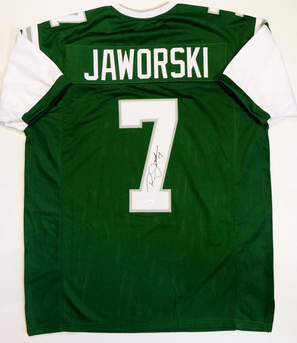 Ron Jaworski Autographed Green Pro Style Jersey- JSA Witnessed Auth *7