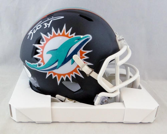Ricky Williams Autographed Miami Dolphins Flat Black Mini Helmet - JSA W Auth *White
