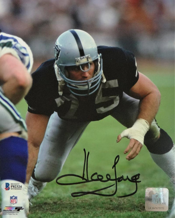 Howie Long Autographed Oakland Raider 8x10 In Stance PF- Beckett Auth *Black