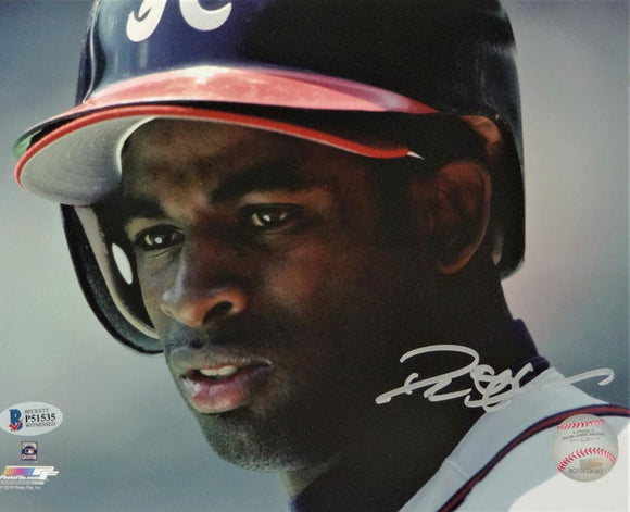 Deion Sanders Autographed Atlanta Braves 8x10 Close Up PF Photo- Beckett Auth *Silver