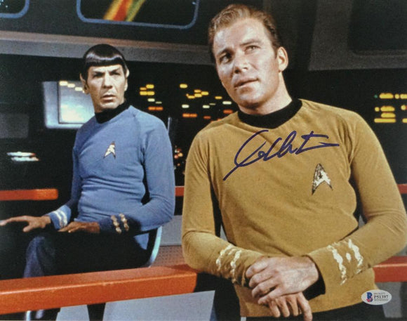 William Shatner Autographed 11x14 Star Trek w/ Spock Photo - Beckett Auth *Blue