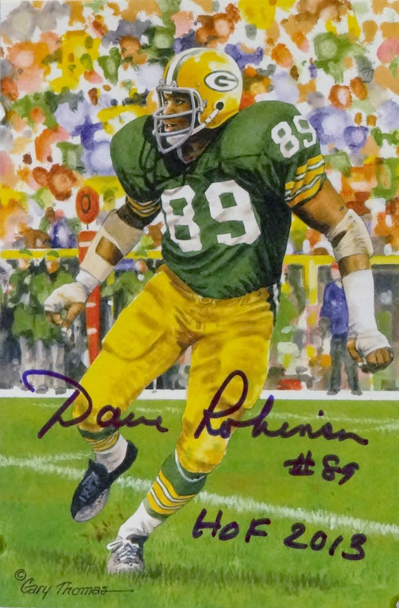 Dave Robinson Autographed Green Bay Packers Goal Line Art Card w/ HOF - Jersey Source Auth