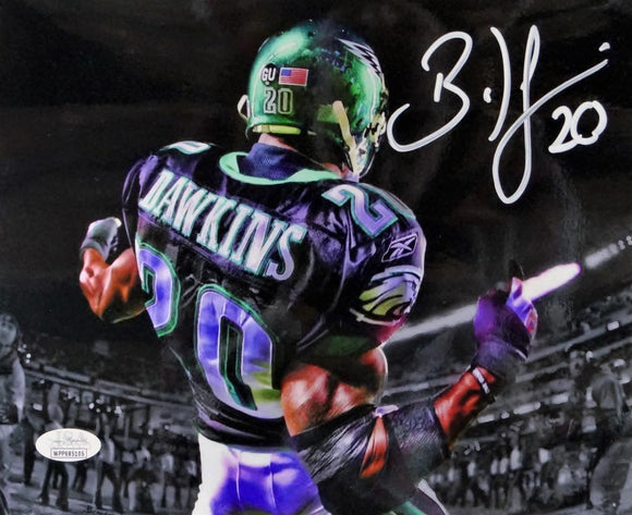 Brian Dawkins Autographed Eagles 8x10 Back View PF Photo- JSA W Auth *White