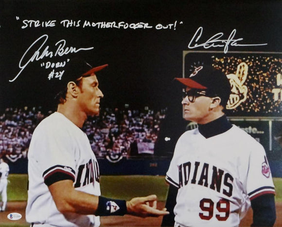 Charlie Sheen/Corbin Bernsen Autographed Major League 16x20 Photo- Beckett Auth *