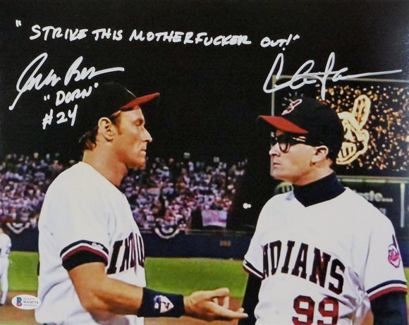 Charlie Sheen/Corbin Bernsen Autographed 11x14 Major League Photo- Beckett Auth *