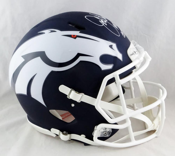 John Elway Signed Broncos F/S AMP Speed Authentic Helmet W/ 2 Insc- Beckett Auth