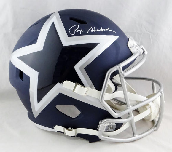 Roger Staubach Autographed F/S Dallas Cowboys AMP Speed Helmet- Beckett Auth *W