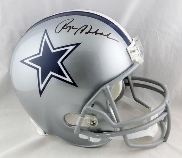 Roger Staubach Autographed Dallas Cowboys F/S Helmet- Beckett Auth *Black