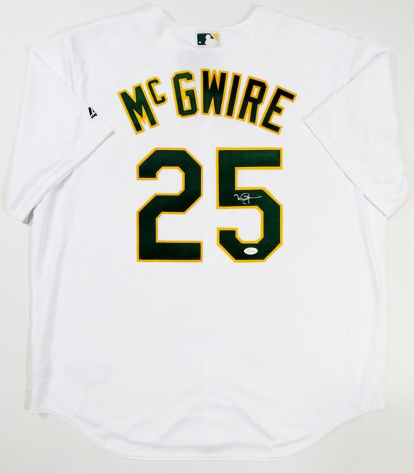 Mark McGwire Autographed Oakland A's White Majestic Coolbase Jersey- JSA W Auth