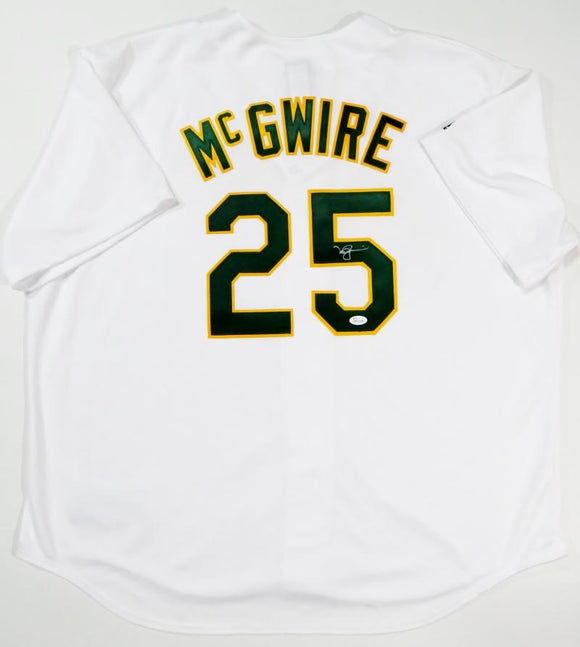 Mark McGwire Autographed Oakland A's White Majestic Jersey- JSA W Auth