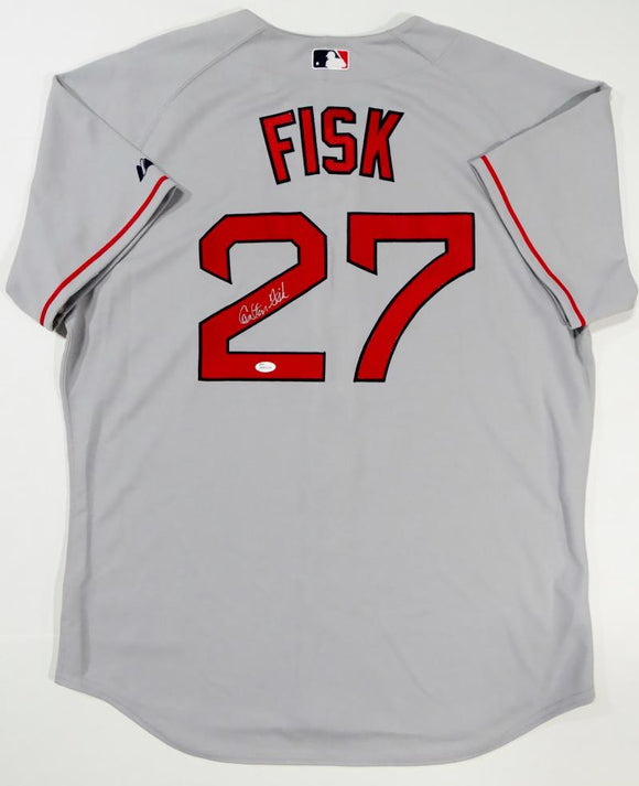 Carlton Fisk Autographed Boston Red Sox Grey Majestic Jersey- JSA W Auth *2