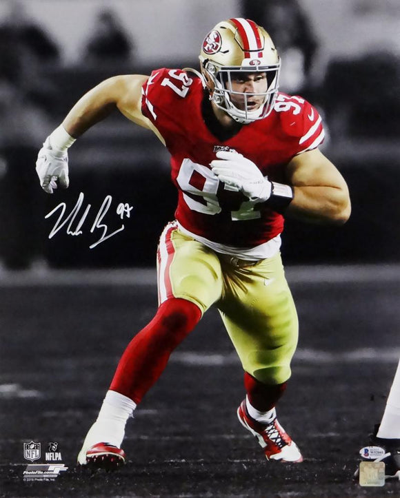 Nick Bosa Autographed 49ers 16x20 BW Spotlight PF Photo- Beckett Auth *White