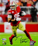 George Kittle Autographed San Francisco 49ers 8x10 Running w/Ball PF Photo- Beckett Auth *Black