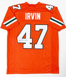 Michael Irvin Autographed Orange College Style Jersey - Beckett Auth *4