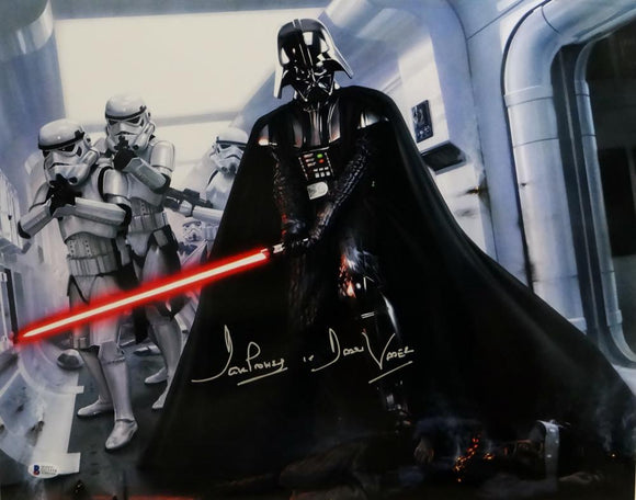 David Prowse Signed Star Wars 16x20 Darth Vader W/ Stormtroopers Photo- Beckett Auth