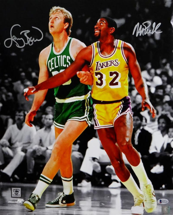 Larry Bird Magic Johnson Autographed 16x20 BW Spotlight Photo - Beckett Auth *Silver