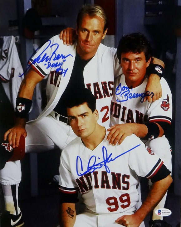 Sheen/Berenger/Bernsen Autographed Major League 11x14 Photo- Beckett Auth *Blue