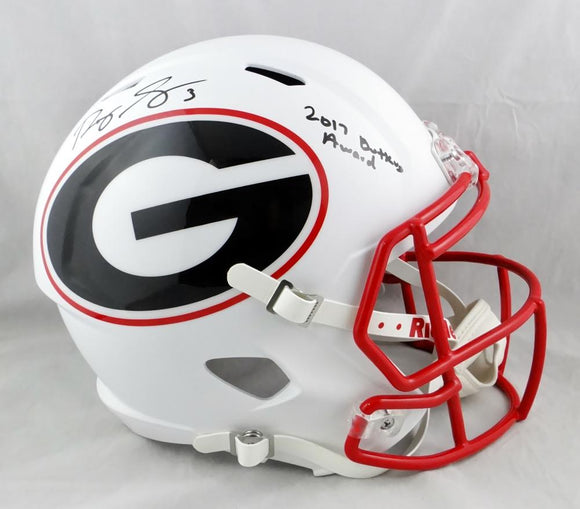 Roquan Smith Autographed Georgia Bulldogs F/S AMP Speed Helmet w/Insc - Beckett Auth *Black