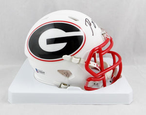 Roquan Smith Autographed Georgia Bulldogs AMP Speed Mini Helmet- Beckett Auth *Black