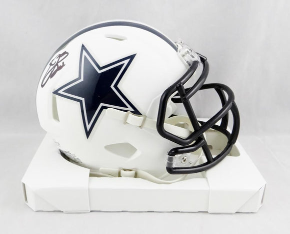 Emmitt Smith Autographed Dallas Cowboys Flat White Speed Mini Helmet- Beckett Auth *Black