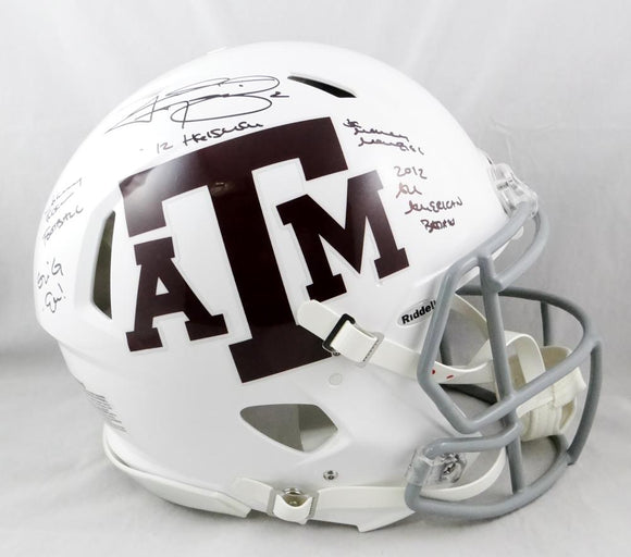 Johnny Manziel Autographed A&M Aggies White Speed Authentic F/S Helmet W/5 Insc- Beckett Auth