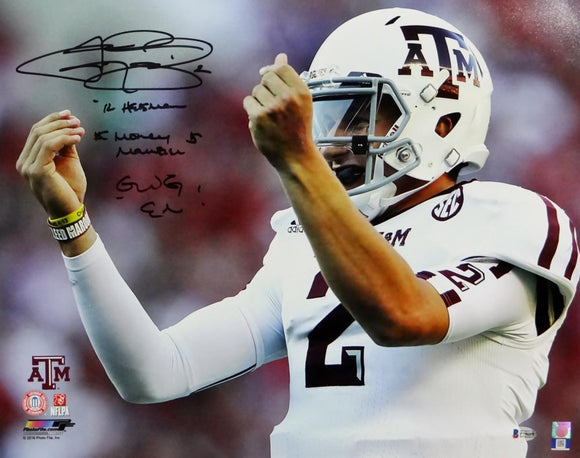 Johnny Manziel Autographed Texas A&M 16x20 Money Sign PF Photo w/3 Insc- Beckett Auth *Black