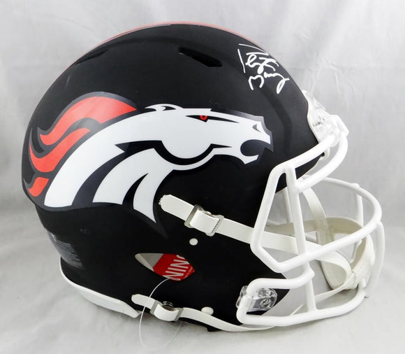 Peyton Manning Autographed Broncos F/S Flat Black Speed Authentic Helmet- JSA W Auth *White