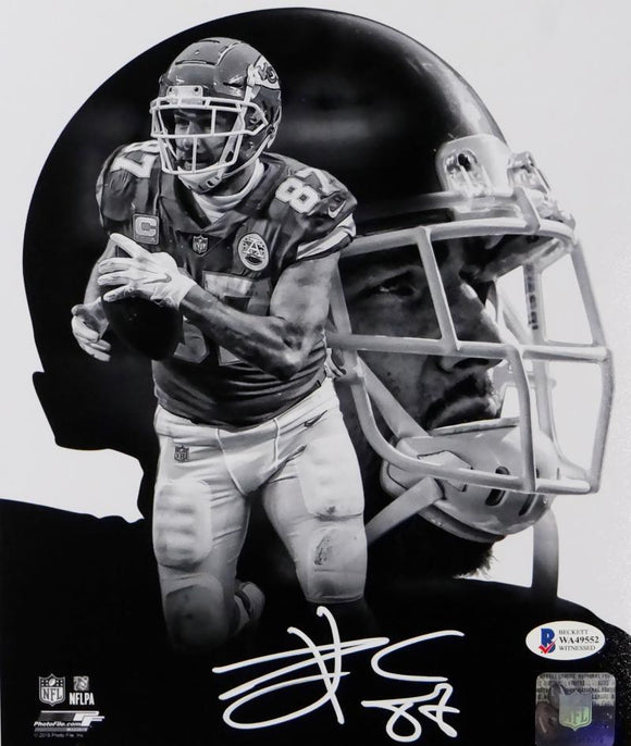 Travis Kelce Autographed Kansas City Chiefs 8x10 BW Double Image PF Photo- Beckett Auth *White
