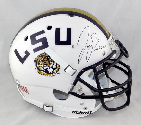 Joe Burrow Autographed LSU Tigers F/S White Schutt Authentic Helmet w/Insc - Beckett Auth