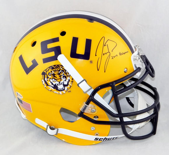 Joe Burrow Autographed LSU Tigers F/S Yellow Schutt Authentic Helmet w/Insc- Beckett Auth