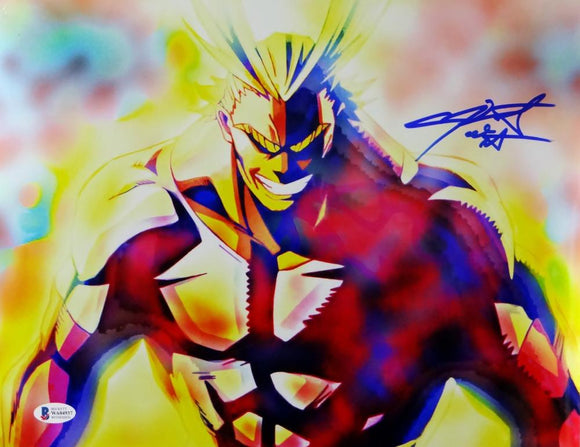 Christopher Sabat Autographed 11x14 All Might Photo - Beckett Auth *Blue