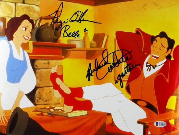 Richard White/Paige O'Hara Signed Gaston & Belle 11x14 Photo- Beckett Auth *Blue