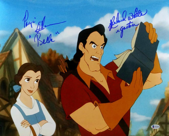 Richard White/Paige O'Hara Signed Gaston & Belle 16x20 Photo- Beckett Auth *Blue