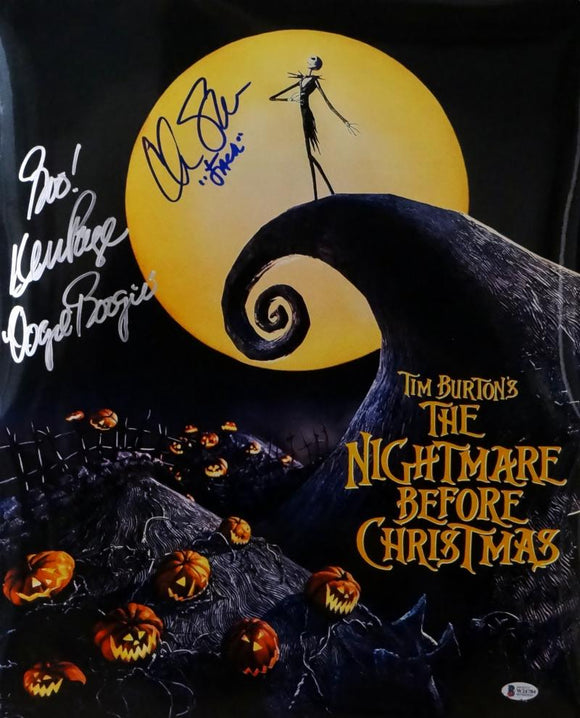 Chris Sarandon/Ken Page Signed 16x20 Nightmare Before Christmas Photo- Beckett Auth *Silver/Blue