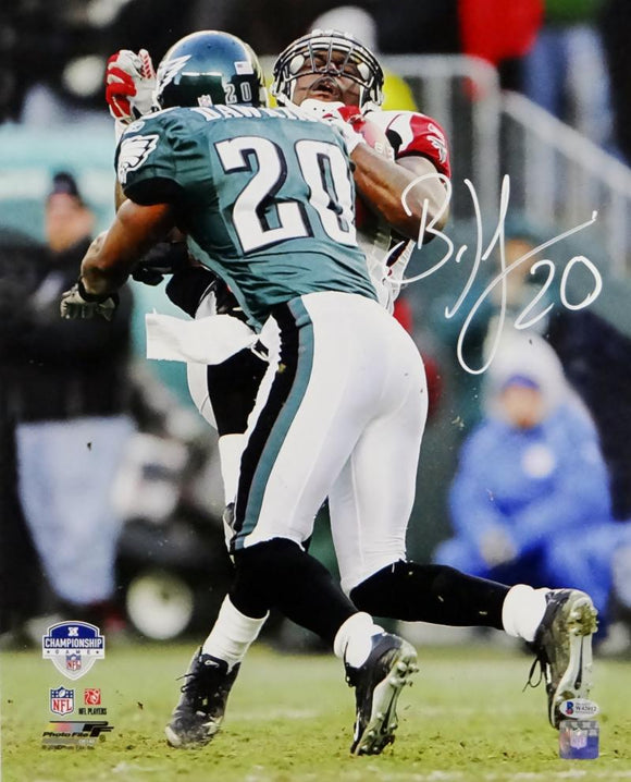 Brian Dawkins Autographed Eagles 16x20 Making Hit PF Photo- Beckett Auth *INK COLOR
