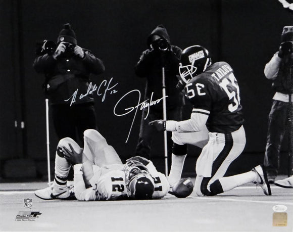 Lawrence Taylor/Randall Cunningham Autographed 16x20 B&W Tackle Photo - JSA W Auth *White