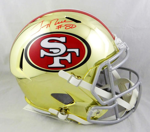 Jerry Rice #80 Autographed San Francisco 49ers F/S Chrome Helmet- Beckett Auth *Red