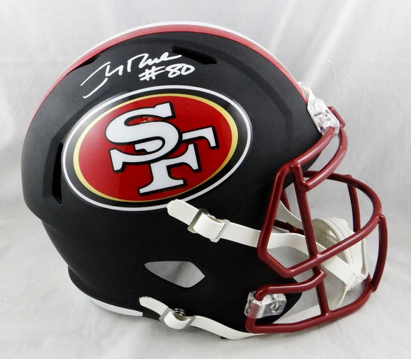 Jerry Rice #80 Autographed San Francisco 49ers F/S Flat Black Helmet- Beckett Auth *White
