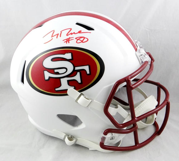 Jerry Rice #80 Autographed San Francisco 49ers F/S Flat White Helmet- Beckett Auth *Red
