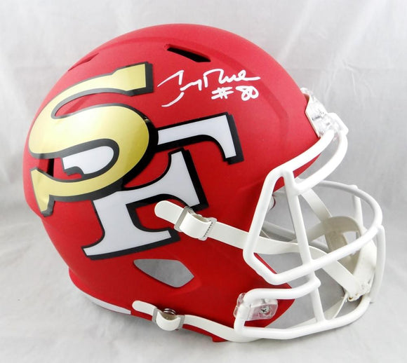 Jerry Rice #80 Autographed San Francisco 49ers F/S AMP Speed Helmet- Beckett Auth *White