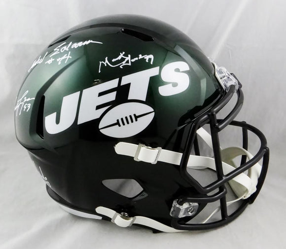 Sack Exchange Autographed New York Jets F/S Speed Helmet - JSA W Auth *White