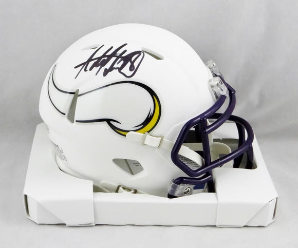 Adrian Peterson Autographed Minn Vikings Flat White Mini Helmet - Beckett Auth *Black